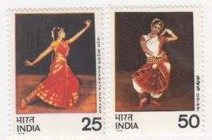 India, Sc # 692-693, MNH, 1975, Dancers