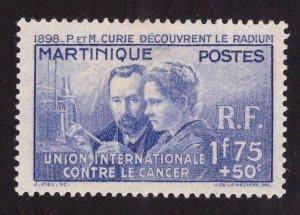 Martinique Scott  B2 MH* 1937 Curie semi postal stamp