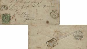 Switzerland 40c Helvetia 1868 Mollis, Canton Glarus to Wurttemberg, Germany w...