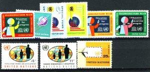 UNITED NATIONS #134-138, 141,146,151,153,C12 MINT SET OF 10 NH