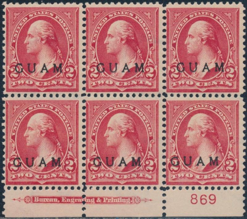GUAM #2 PLATE #869 BLK/6 WITH IMPRINT F-VF OG TROPICAL GUM CV $300 BR5772