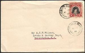 COOK IS 1938 1d Cook on cover, PENRHYN ISLAND NZ type cds.................78218W