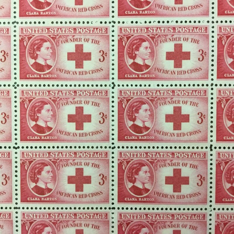 967   Clara Barton, Red Cross.   MNH  3¢ sheet of 50.    Issued in 1948.