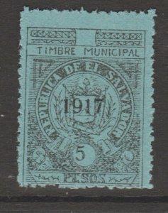 El Salvador revenue Fiscal stamp 10-19-20 mnh no gum 5 Peso