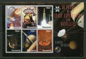 TANZANIA 50 YEARS OF SPACE EXPLORATION & SATELLITES CASINI HUYGENS SHEET MINT NH