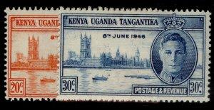 KENYA UGANDA TANGANYIKA GVI SG155-156, VICTORY set, M MINT.