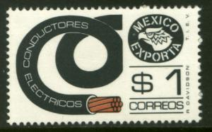 MEXICO Exporta 1116, $1P Electr Conductors 36mm Paper 7 MINT, NH. VF.