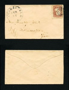 # 65 on cover Bakersfield, Vermont to Williamstown, Massachusetts - 2-12-1860's
