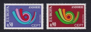 Andorra French    #219-220   MNH    1973   Europa