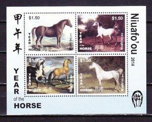 Tonga-Niuafo`ou, 2014 issue. Horses sheet. ^