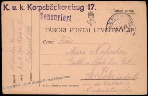 Austria WWI Bakery Korpsbaeckereizug 17 Feldpost PC Cover 69734