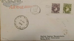 O) 1941 NIGERIA, KING GEORGE VI, AIRMAIL CIRCULATE COVER FROM LAGOS TO USA