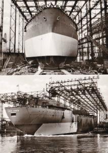 SHIP LAUNCHING, ESSO DEUTSCHLAND, ESSO SPAIN 23 FEB 1963