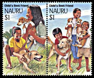 Nauru 409a, MNH, Dogs and Children pair