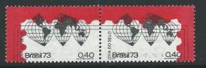 BRAZIL SG1448/9 1973 STAMP DAY MNH