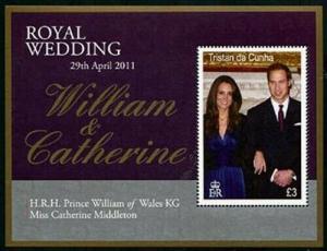 HERRICKSTAMP TRISTAN DA CUNHA Sc.# 943 Royal Wedding Prince William S/S