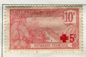 FRENCH COLONIES GUADELOUPE 1915 early Pictorial issue Mint hinged Red Cross 10c.
