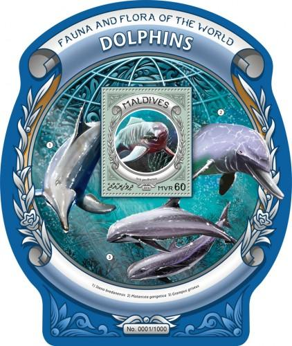 MALDIVES - 2016 - Dolphins - Perf S/Sheet - MNH