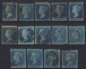(M141) QV 1841-70, Sg14/Sg34, Selection of USED 2d blue stars on card. Unchecked