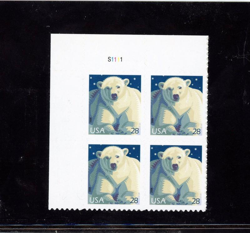 US 4387  Polar Bear 28c - Plate Block of 4 - MNH - 2009 - S1111  UL