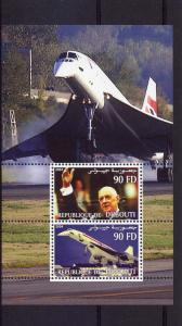 Djibouti 2004 Concorde/General Charles De Gaulle Souvenir Sheet Perforated MNH