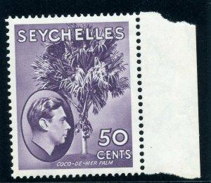 Seychelles 1938 KGVI 50c deep reddish violet (CH) superb MNH. SG 144. Sc 141