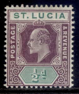 ST. LUCIA EDVII SG64a, ½d dull purple & green, LH MINT. Cat £12. CHALKY