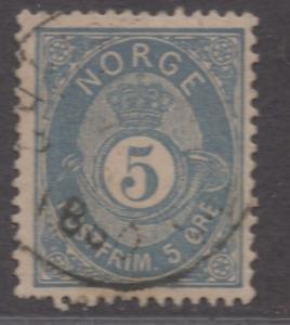 *Norway SC# 24 Used, FVF, Wmk#160, Dull Blue, CV $125.00