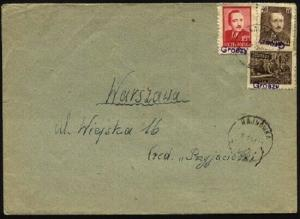 POLAND 1951 cover - GROSZY opts - 1 INVERTED  Hajnowka cds to Warsaw......95756