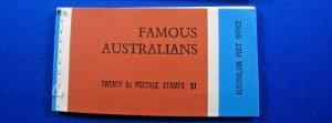 AUSTRALIA 1968 COMPLETE MNH STAMP BOOKLET - FAMOUS AUSTRALIANS    (kbabk1)