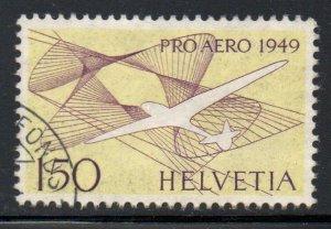 Switzerland Sc C45 1949 150 fr Glider Pro Aero airmail stamp used