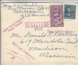 1940, Sheboygan to Madison, WI, 21c Prexie, Registered, See Remark (36029)