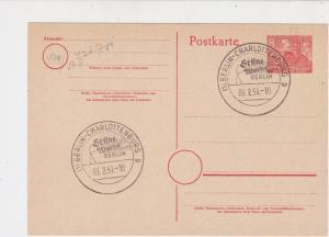 Berlin 1951 Charlottenberg Wheat Slogan Cancels Stamps Card  Ref 25885