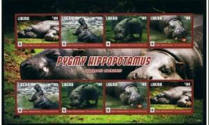 Liberia 2016 Pygmy Hippopotamus WWF klb of 8v MNH