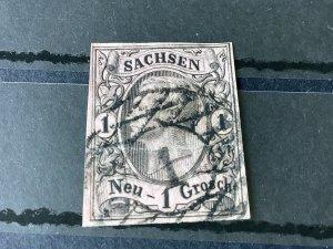 Saxony 1855 Grid Number 1 for Dresden Cancel Stamp  Ref 57140