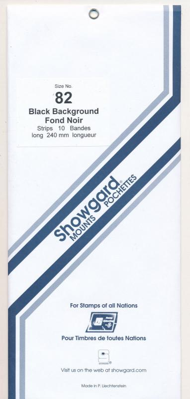 Showgard Stamp Mounts Size 82/240 BLACK Background Pack of 10