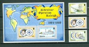 GIBRALTAR SHIPS #536-539...SE & SOUV. SHEET...MNH...$5.50