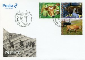 Faroes Faroe Islands Farm Animals Stamps 2021 FDC Cattle Cows Cow 3v Set
