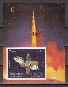 Sharjah, Mi cat. 987, BL112 B. Apollo 16, Lunar Module, IMPERF s/sheet. *
