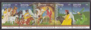 Palau # 312, Christmas, Manger Scene, Strip of 5 Different,  NH, 1/2 Cat.