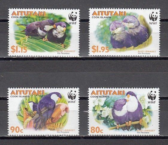 Aitutaki, Scott cat. 533-536. Birds on W.W.F. issue.