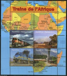 Madagascar MNH S/S African Trains 2015
