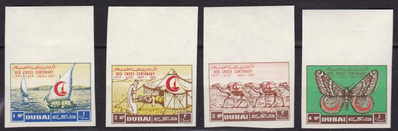DUBAI 1963 RED CROSS Centenary Complete (8) IMPERF VF/NH