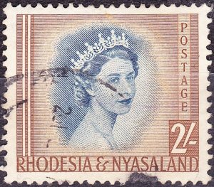 RHODESIA & NYASALAND 1954 EQII 2/- Deep Blue & Yellow-Brown SG11 Used