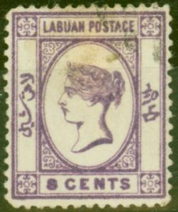 Labuan 1892 8c Violet SG41 Good Used