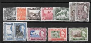 MALAYA TRENGGANU SG89/99 (EXCL,94a) 1957 DEFINITIVES MNH