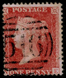 SG38, 1d pale red PLATE 44, LC14, FINE USED. Cat £35. NE