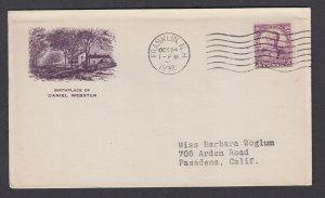 US Planty 725-1a FDC. 1932 3c Daniel Webster, unlisted purple Gorham cachet