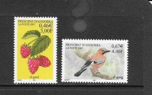 BIRDS - ANDORRA (FR) #537-8  BIRD & BERRIES   MNH