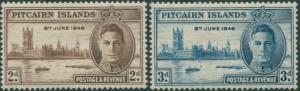 Pitcairn Islands 1946 SG9-10 Parliament House London set MLH